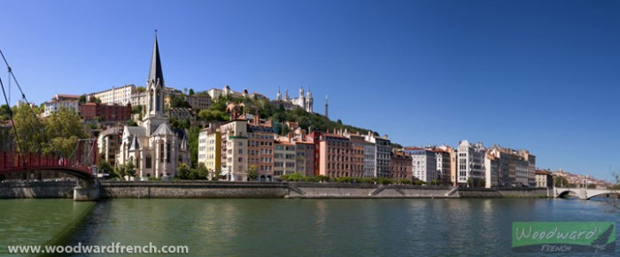 Lyon, France - Saône river, churches and buildings
