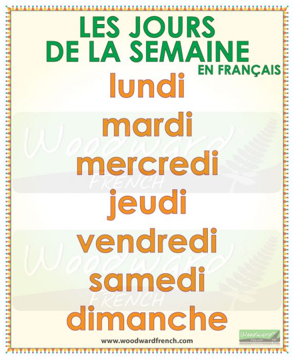 Days of the Week in French | Woodward French