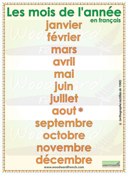 Months of the year in French. Les mois de l'année en français.