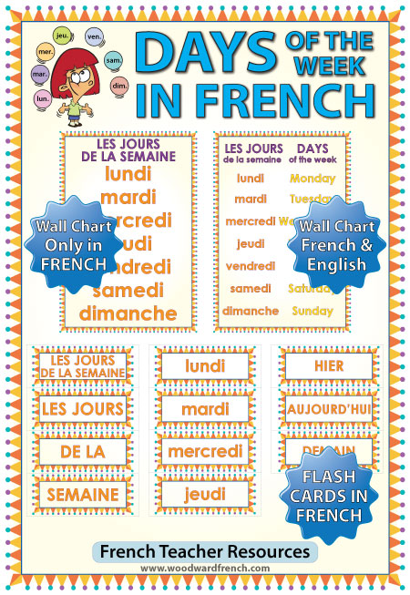 Days of the Week in French Flash Cards - Les jours de la semaine en français