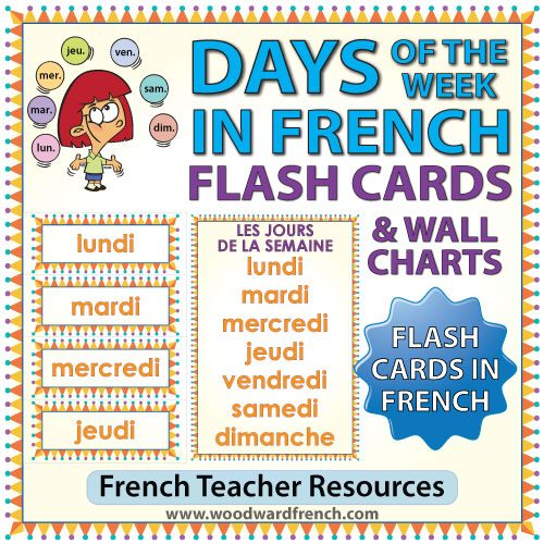 French Days of the Week Flash Cards - Les jours de la semaine en français